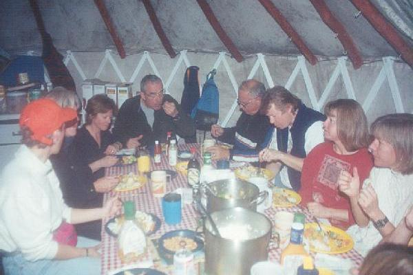 Meals are served family style in the Dining Room Yurt