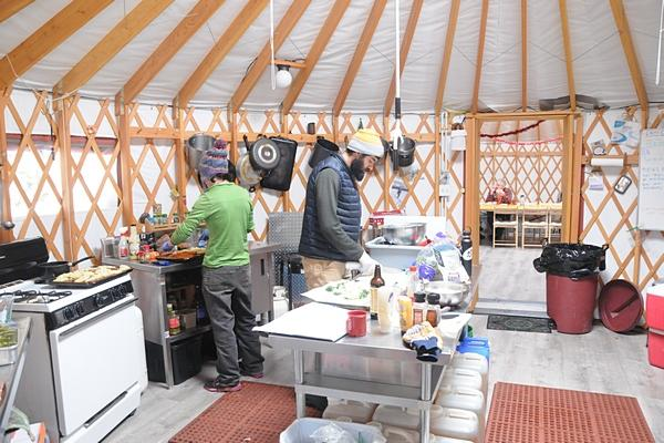 Meals are prepared in the Kitchen Yurt