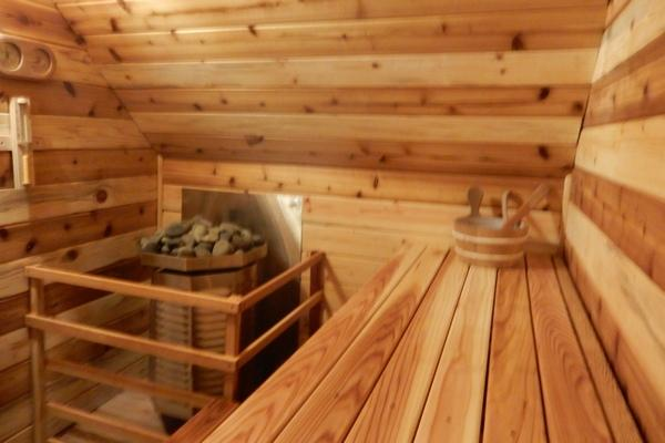The sauna is heated by a propane sauna heater