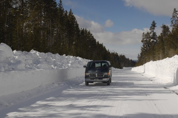 Photo shows the Snow Depth after plowing Yellowstone Roads in the spring